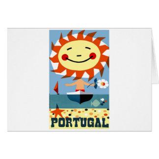 Vintage 1959 Portugal Seaside Travel Poster Card