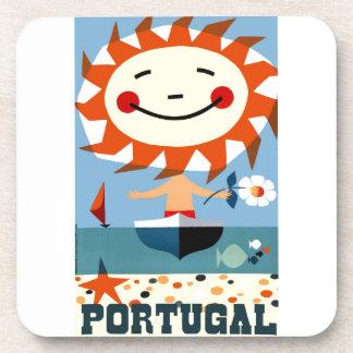 Vintage 1959 Portugal Seaside Travel Poster Coaster