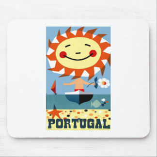 Vintage 1959 Portugal Seaside Travel Poster Mouse Pad