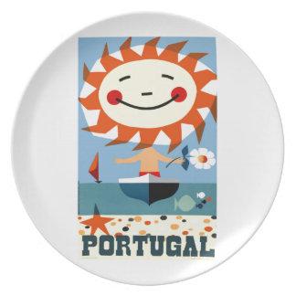 Vintage 1959 Portugal Seaside Travel Poster Plate
