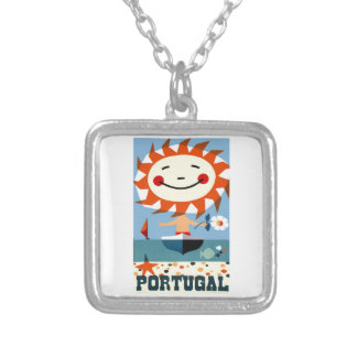 Vintage 1959 Portugal Seaside Travel Poster Silver Plated Necklace