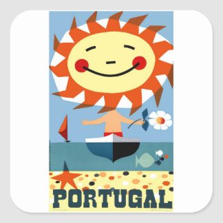 Vintage 1959 Portugal Seaside Travel Poster Square Sticker