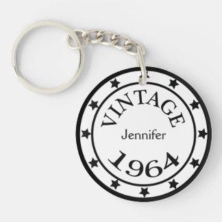 Vintage 1964 birthday year stars custom girls name Double-Sided round acrylic keychain