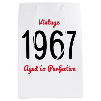 Vintage 1967 Aged To Perfection 50 Birthday Party Medium Gift Bag