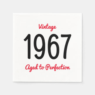 Vintage 1967 Aged To Perfection 50 Birthday Party Paper Napkins