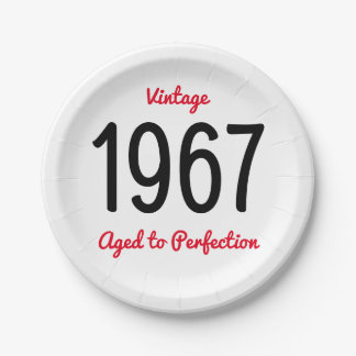 Vintage 1967 Aged To Perfection 50 Birthday Party Paper Plate