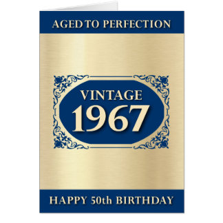 Vintage 1967 Blue 50th Birthday Greeting Card