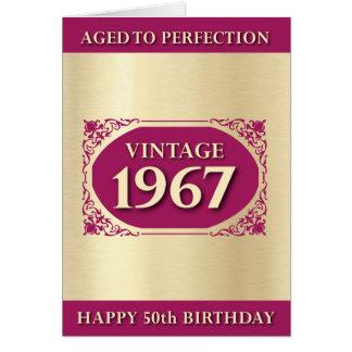 Vintage 1967 Pink 50th Birthday Greetings Card