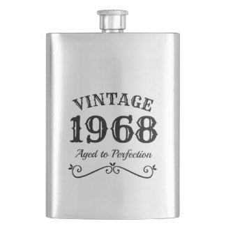 Vintage 1968 50th Birthday stainless steel flask