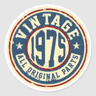 Vintage 1975 All Original Parts Classic Round Sticker