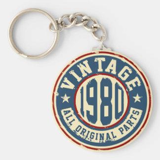Vintage 1980 All Original Parts Basic Round Button Keychain
