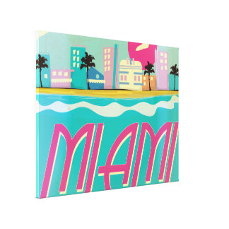 Vintage 1980s Miami Poster Canvas Print