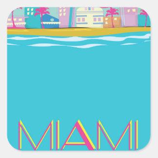Vintage 1980s Miami Travel poster Square Sticker