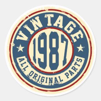 Vintage 1987 All Original Parts Round Sticker