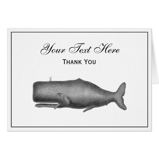 Vintage 19th Century Whale Drawing Card