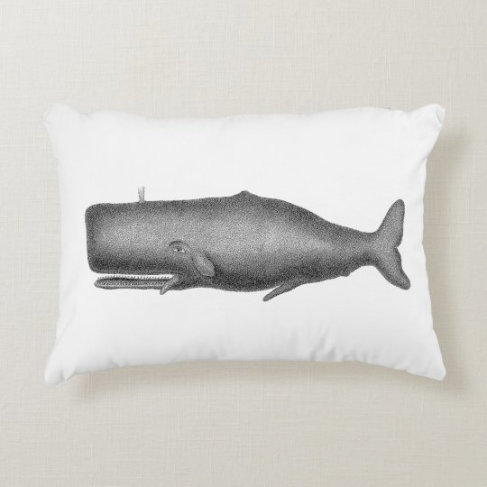 Vintage 19th Century Whale Drawing Decorative Pillow