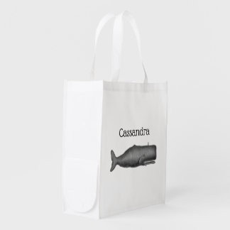 Vintage 19th Century Whale Drawing N Reusable Grocery Bag