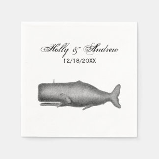 Vintage 19th Century Whale Drawing Paper Napkins