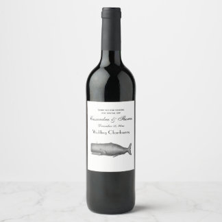 Vintage 19th Century Whale Drawing Wine Label