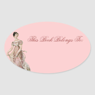 Vintage 19th Century Woman Oval Sticker