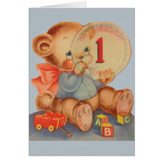 Vintage 1 Year Old Birthday Card