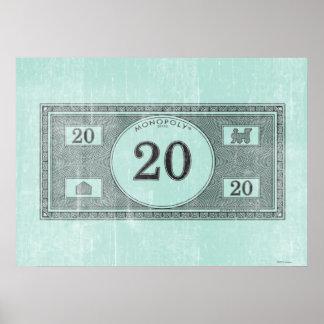 Vintage 20 Dollar Bill Poster