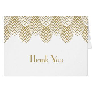 Vintage 20's Art Deco Scallop White Gold Thank You Card