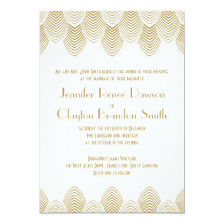 Vintage 20's Art Deco Scallop White Gold Wedding 5x7 Paper Invitation Card
