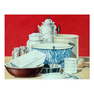 Vintage 20s Kitchen Pots and Pans Postcard