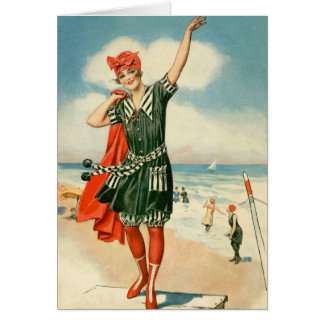 Vintage 20s Swimsuit Beach Pin Up Girl Greeting Card