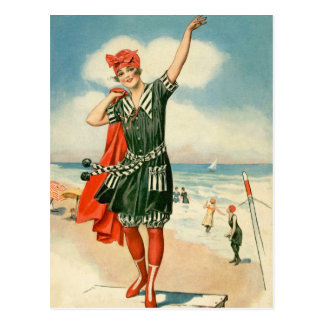 Vintage 20s Swimsuit Beach Pin Up Girl Postcard