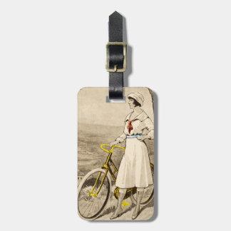 Vintage '20s Woman Bicycle Advertisement Luggage Luggage Tag