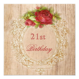 "Vintage 21st Birthday Red Rose Wooden Frame 5.25"" Square Invitation Card"