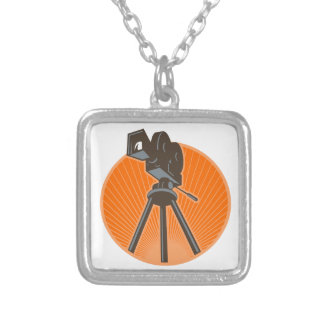 Vintage 35mm Motion Picture Camera Retro Silver Plated Necklace