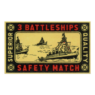 Vintage 3 Battleships Safety Match Label Poster