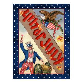 Vintage 4th July Uncle Sam and eagle Postcard