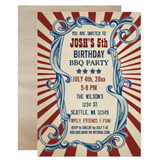 Vintage 4th of July Birthday Party Invitations