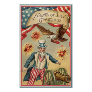 Vintage 4th of July Fireworks with Uncle Sam Poster