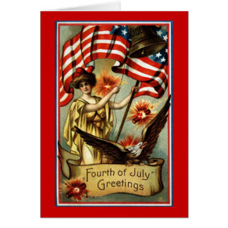 Vintage 4th of July Greetings Blank Card