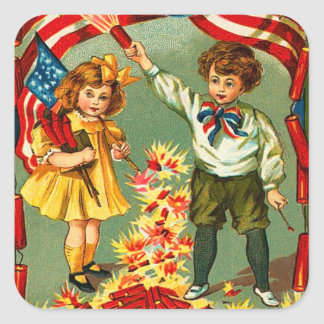 Vintage 4th of July Kids Square Sticker