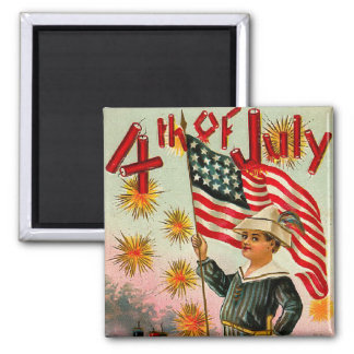 Vintage 4th of July Square Magnet