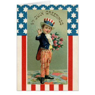 Vintage 4th of July Young Uncle Sam Card
