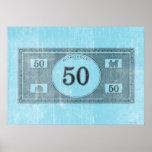 Vintage 50 Dollar Bill Posters