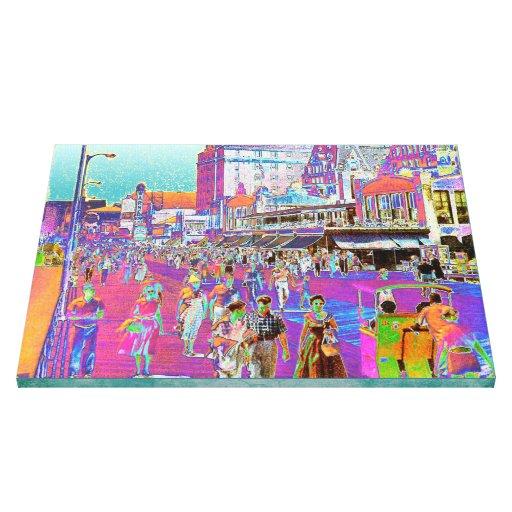 Vintage 50s Atlantic City Boardwalk Retro Popart Gallery Wrap Canvas