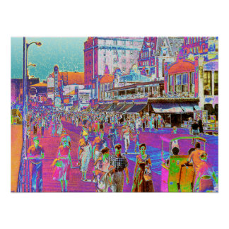 Vintage 50s Atlantic City Boardwalk Retro Popart Poster