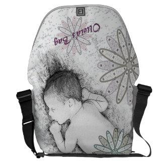 Vintage 50's Baby Black & White Custom Diaper Bag Commuter Bag