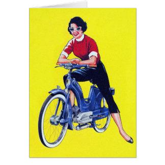 Vintage 50s Women Motorcycle Moped Gal Card