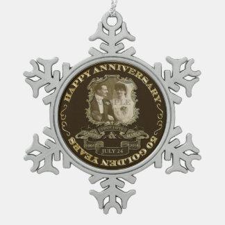 Vintage 50th Anniversary ID195 Pewter Snowflake Ornament