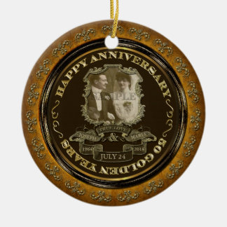 Vintage 50th Anniversary Double-Sided Ceramic Round Christmas Ornament