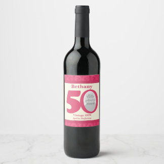 Vintage 50th birthday photo custom wine labels